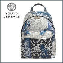 YOUNG VERSACE(ヤングヴェルサーチ) バックパック・リュック 関送込【YOUNG VERSACE】バロック★バックパック★Blue★36cm