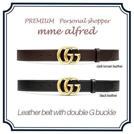 popular Gucci double G buckle leather belt