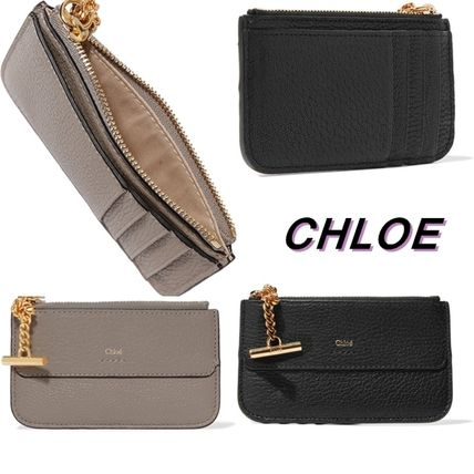 CHLOE Drew textured leather card case