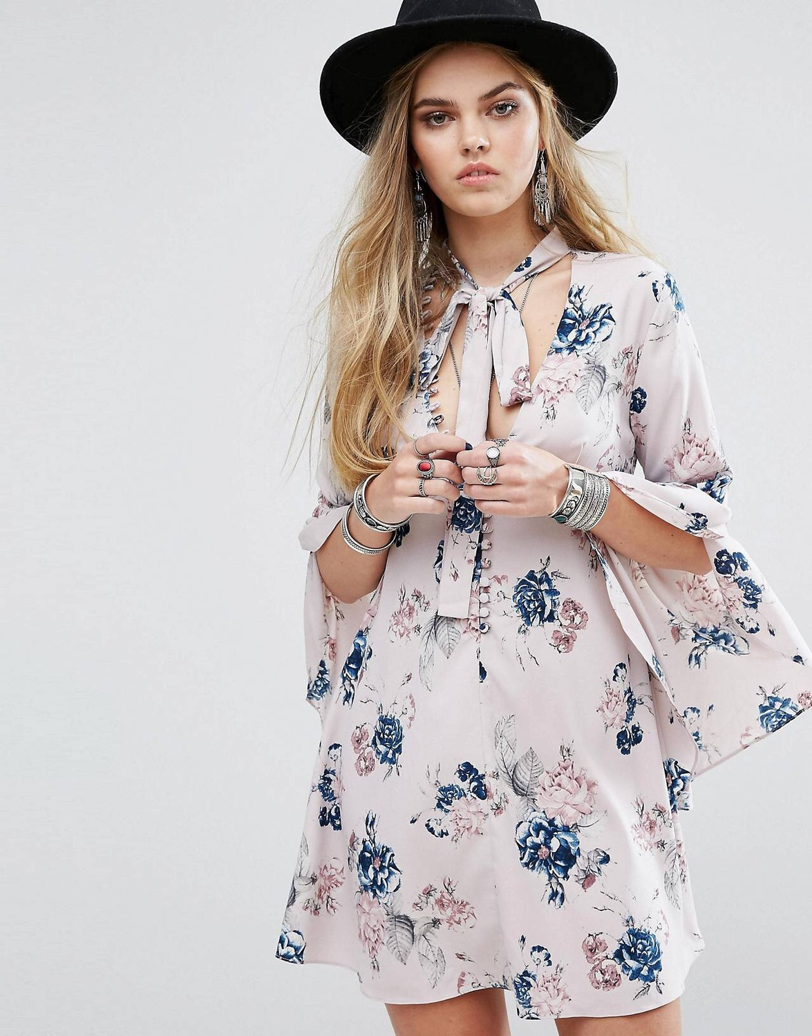 ASOS ★送料込み Honey Punch★Button Front Tea Dress