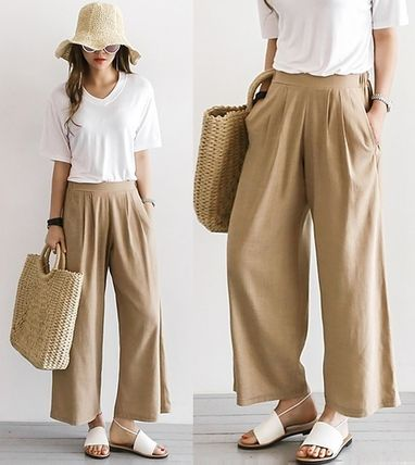 West pin tuck linen wide pants back GOM all