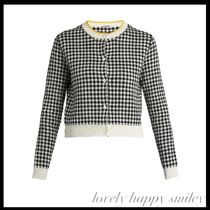 Button-down gingham-intarsia cotton cardigan