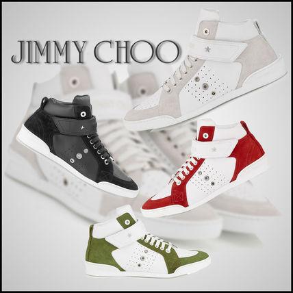 【Jimmy Choo】 Sport Calf Trainers with Red Suede Detailing