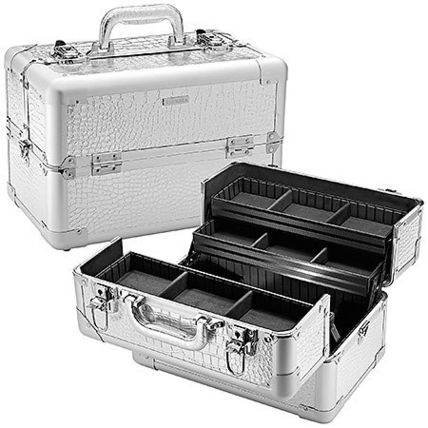 SEPHORA COLLECTION Embossed Traincase Silver Faux Croc