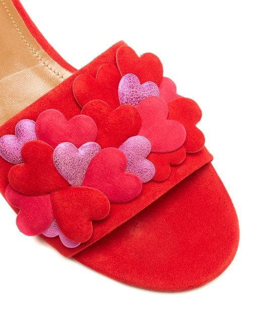 国内発| AQUAZZURA ♥ Happy Hearts スライド Red