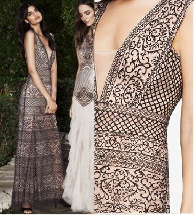BCBG MAXAZRIA SALE detail embroidered lace long dress