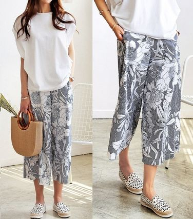 Flower floral stripe Gaucho wide pants all