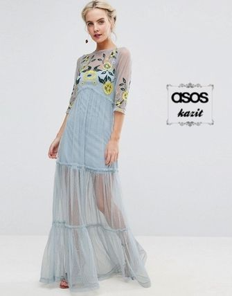 * ASOS * * FLORAL embroidered mesh Maxi dress /PB