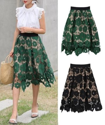 Lovely flower floral lace embroidered see-through skirt