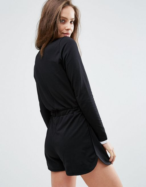 ☆ASOS Long Sleeve Playsuit with Contrast Binding☆