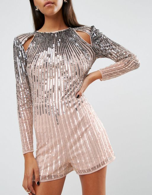 ☆ASOS NIGHT Ombre Sequin Playsuit with Cutouts☆