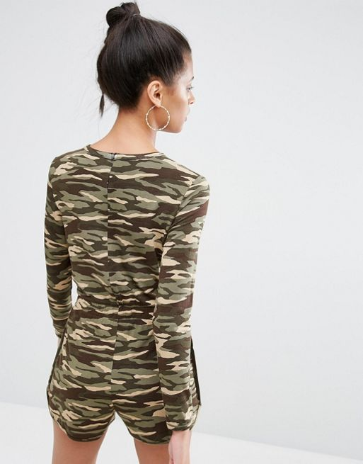 ☆ASOS Long Sleeve Playsuit in Camo Print with Contrast Ti☆