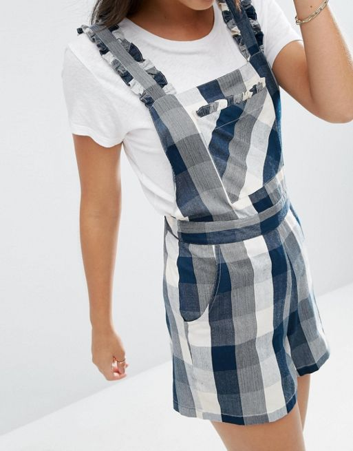 ☆ASOS Check Pinafore Playsuit with Ruffles☆