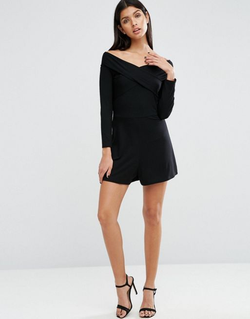 ☆ASOS Jersey Off Shoulder Bardot Wrap Playsuit☆