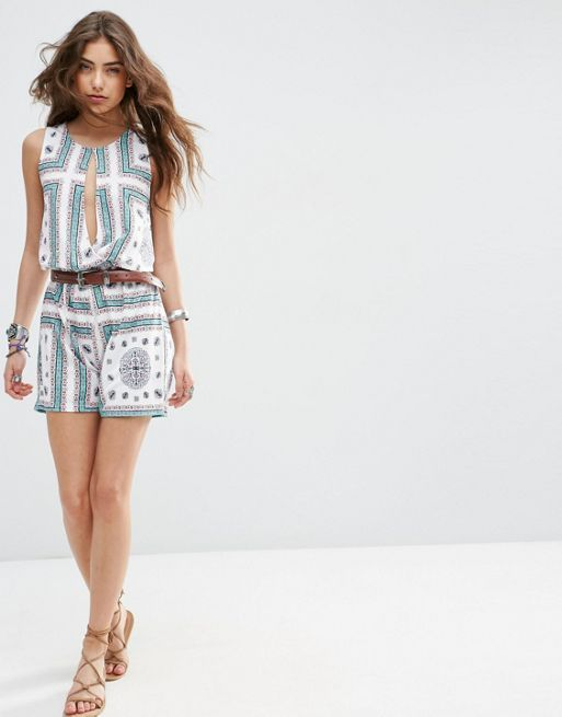 ☆ASOS Blouson Placement Scarf Print Playsuit with Keyhole☆