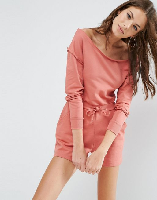 ☆ASOS Playsuit with Off Shoulder in Sweat☆