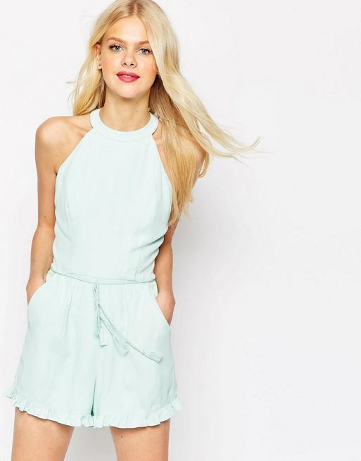 ☆ASOS High Neck Ruffle Hem Playsuit with Rope tie☆