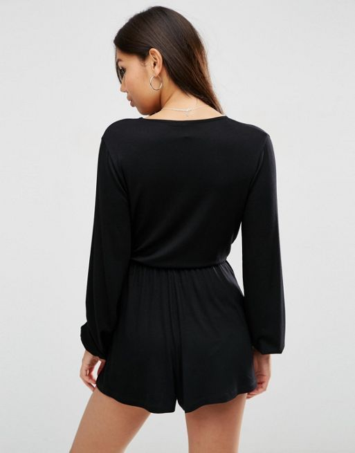 ☆ASOS Jersey Blouson Playsuit with Deep Plunge☆