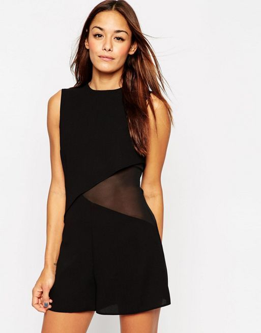 ☆ASOS Woven Double Layer Asymmetric Playsuit with Sheer S☆
