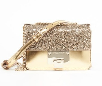 [国内発・関送込] LEATHER AND SPARKLES CLUTCH WITH CHAIN