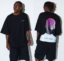 ATTENTIONROW(アテンションロー) Tシャツ・カットソー 日本未入荷★ATTENTIONROW★BEHIND PRINT OVERSIZE TEE★BLACK