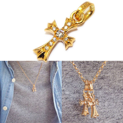 CHROME HEARTS ネックレス・チョーカー 【定番】CH CROSS BABY FAT CHARM 22K with Pave Diamond(4)