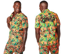 ZUMBA - Tropical Short Sleeve Button Up ズンバ ボタン シャツ