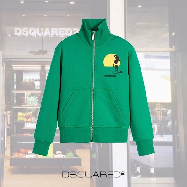 DSQUARED2 KIDS/Boys Green 'Surf Theme'ジップアップトップ