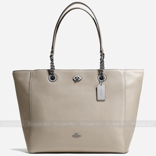 COACH★TURNLOCK CHAIN TOTE IN POLISHED PEBBLE LEATHER 56830