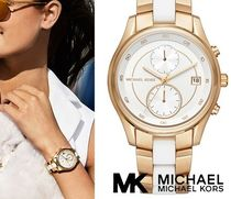 【新作SALE】Michael Kors Briar Gold-tone and white silicone