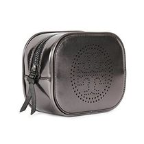ギフトバッグ付き!Tory Burch Metallic Gunmetal Cosmetic Bag