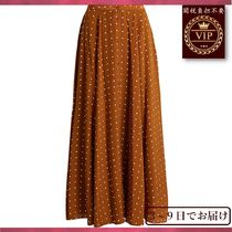 【新作】Button-through Arbor dot-print silk skirt