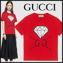 17SS【国内発送】GUCCI Ghost GG×ダイアモチーフ  赤 Tシャツ