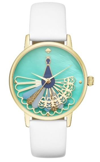 Kate Spade, metro peacock leather strap watch