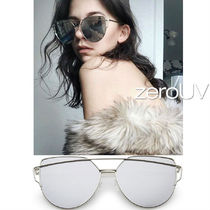 全8色★zeroUV★OVERSIZE THIN CROSS BROW MIRRORED SUNGLASSES