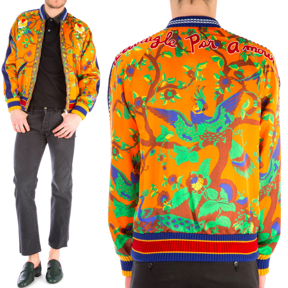 17SS WG245 PRINTED BOMBER JACKET WITH EMBROIDERY