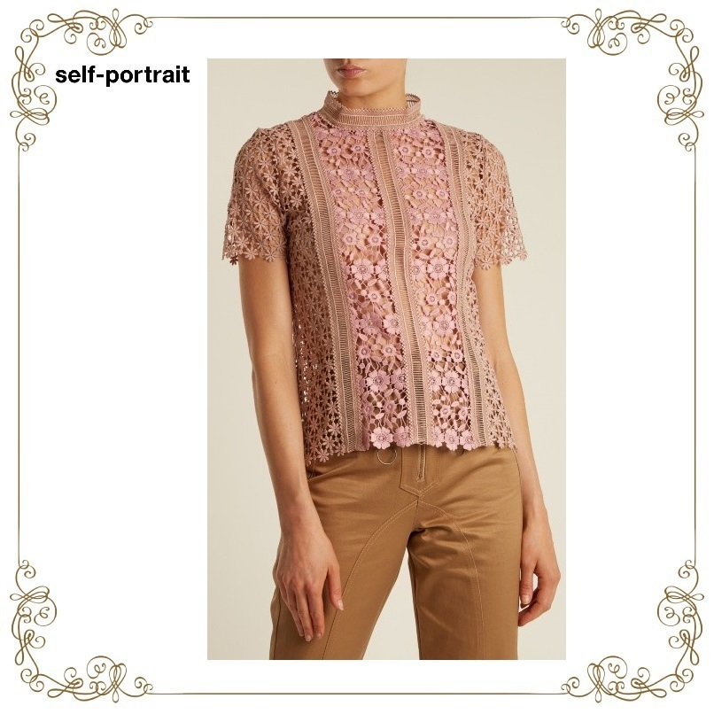 【17AW】★SELF PORTRAIT★Floral-lace short-sleeved tops