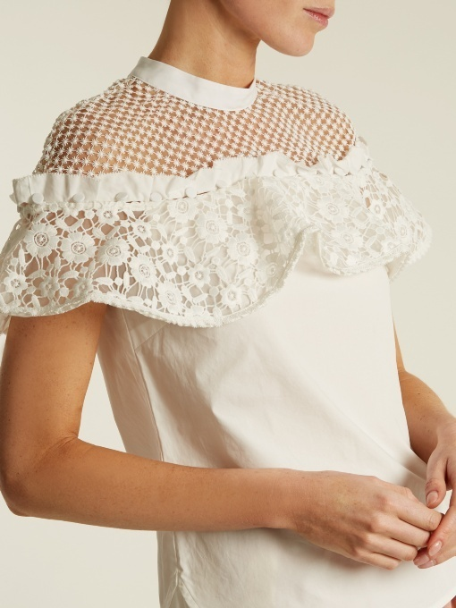 【17AW】★SELF PORTRAIT★Hudson ruffled lace cotton tops
