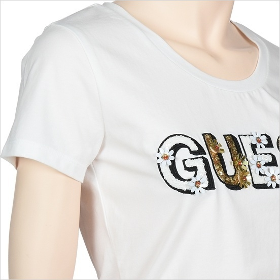 Guess正規品★Flower Beads Decoration T-shirt★送料込