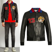 17SS WG248 TIGER APPLIQUE LEATHER BOMBER JACKET