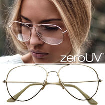 全3色★zeroUV★RETRO FULL METAL AVIATOR WITH CLEAR LENSES