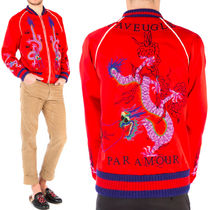 17SS WG250 DRAGON EMBROIDERED SILK BOMBER JACKET
