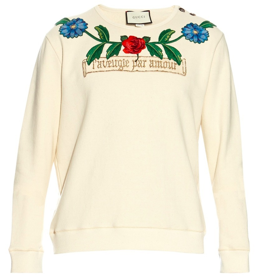17SS WG255 FLOWER & TREE EMBELLISHED SWEATSHIRT