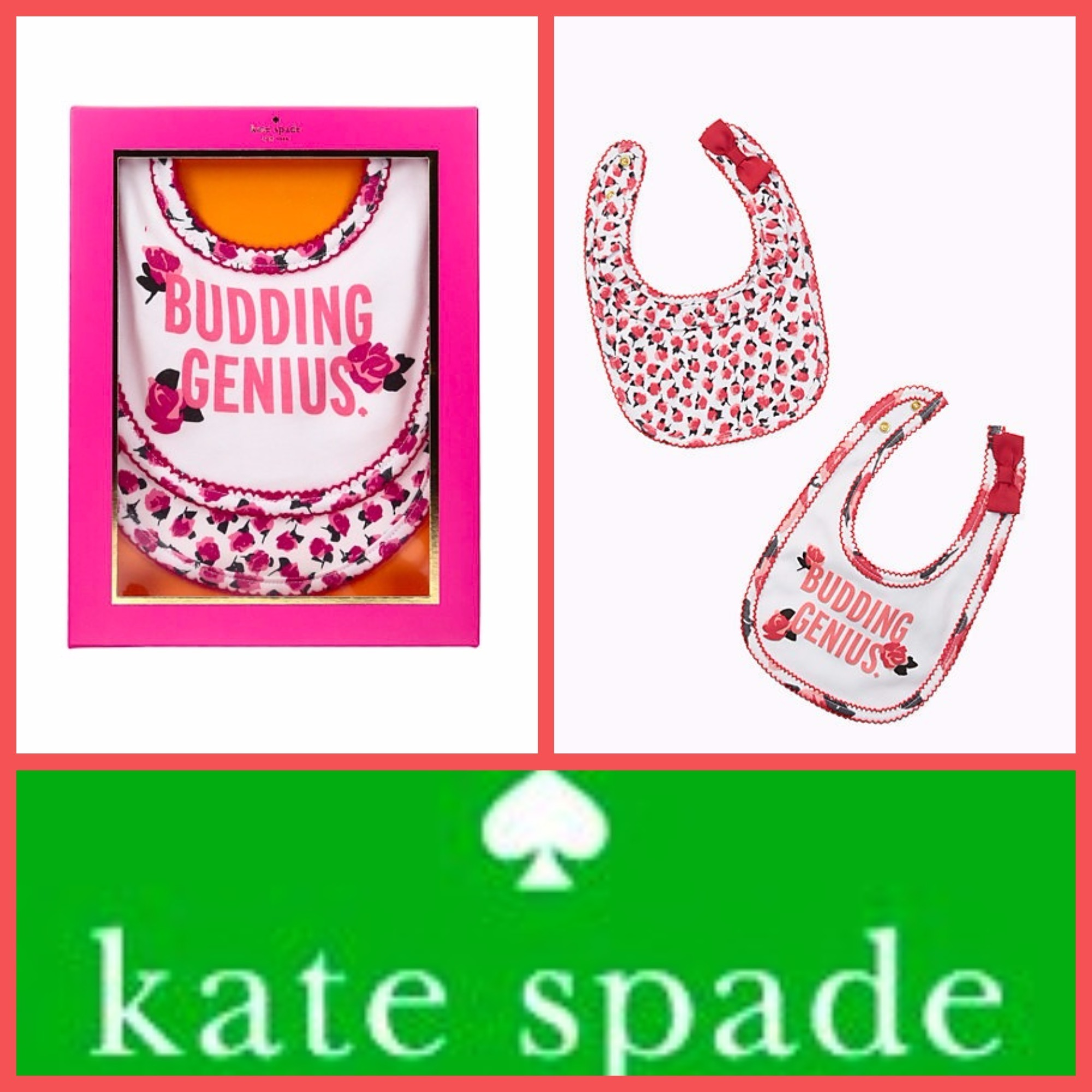 Kate Spade♪花柄ビブ2枚セット