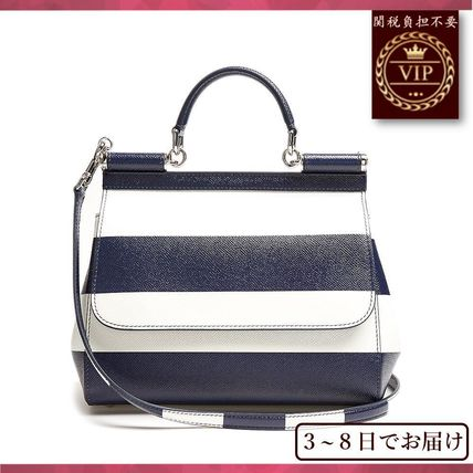 国内発送料無料★Sicily medium striped leather tote