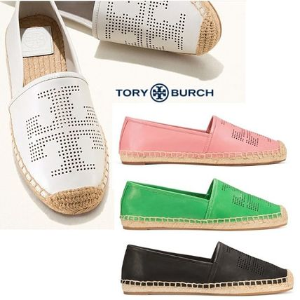 Tory Burch time limited sale leather & logo ESPADRILLE