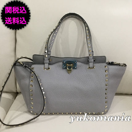 SALE VALENTINO rock studded small tote green CARF
