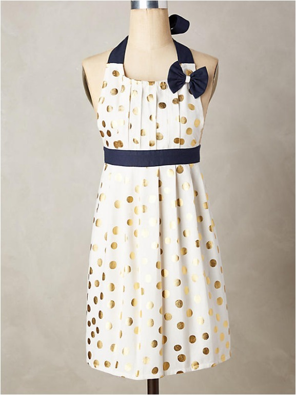 ANTHROPOLOGIE アンソロポジー Gold Polka Dotted エプロン 水玉