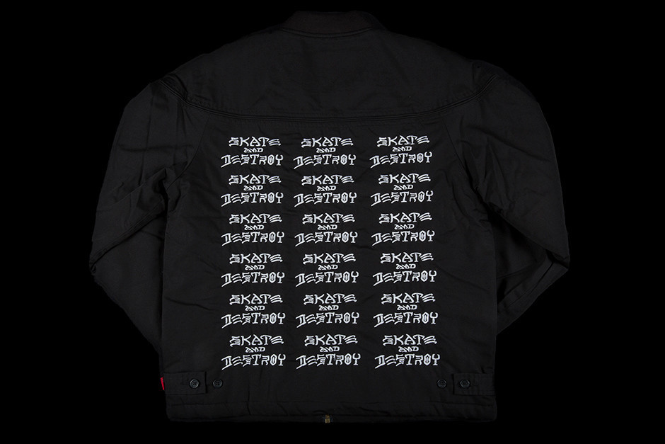 SS17 SUPREME THRASHER POPLIN CREW JACKET BLACK 黒 送料無料