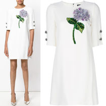 17-18AW DG1169 ORTENSIA EMBELLISHED DRESS WITH JEWEL BUTTON